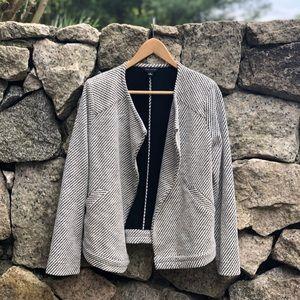 Ann Taylor Asymmetrical Snap Button Up Jacket.